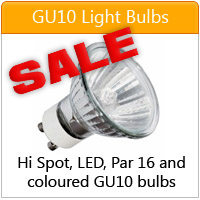 Hi spot, coloured and LED GU10 light bulbs - click here